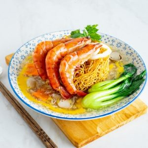 Crispy Noodle Tower With Seafood In Soupy Egg Gravy/生面